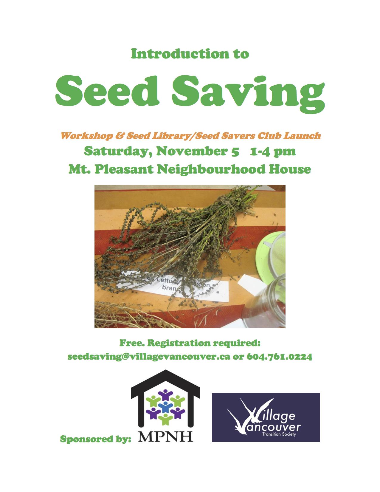 Seed Saving Workshop – Nov 5 |